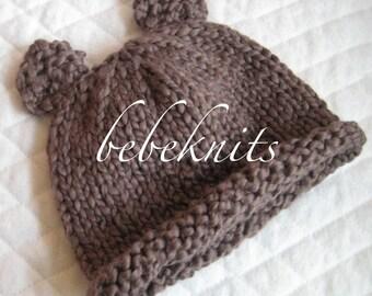 Hand Knit Organic Cotton Teddy Bear Hat