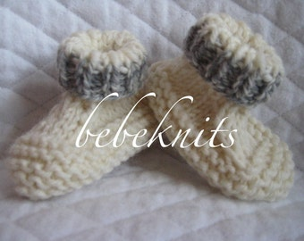 Ivory and Gray Hand Knit Baby Sock Style Booties