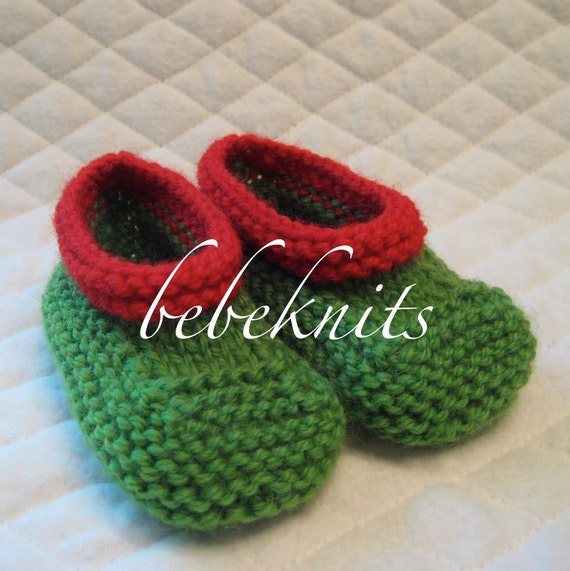 Hand Knit Green and Red Baby Slippers