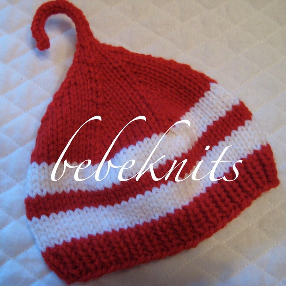 Hand Knit Candy Cane Baby Hat