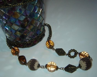 Amber Crystal & Cloth Bead Necklace