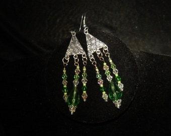 Green Swarovski Crystal Dangle Earrings