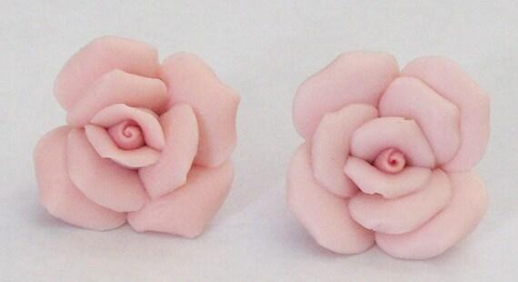 Pink Porcelain Rose Earrings