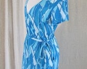 Vintage 70s Aqua Psychedelic Wrap Around Dress