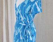 Vintage 70s Aqua Psychedelic Wrap Around Dress