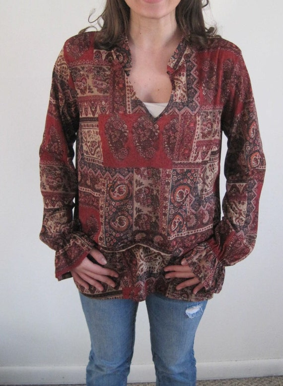 Vintage Floral Hippie Blouse with Bell Sleeves