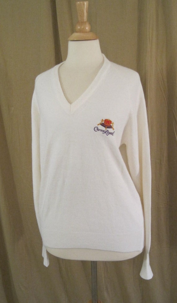Vintage 80s Crown Royal White Sweater