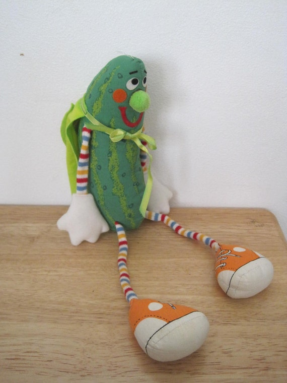 Vintage 80s Super Pickle Plush Toy, Rare