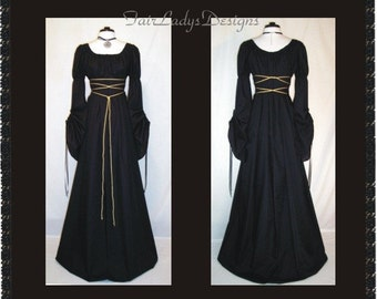 Sale ~ Gorgeous Medieval/Renaissance Black Cathedral Sleeve Costume Gown, Custom made to order in your Color.