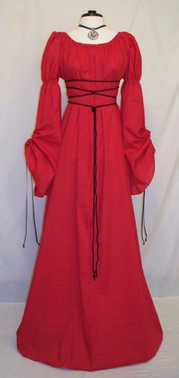 Sale ~ Medieval/Renaissance Red Cathedral Sleeve Costume Gown, Custom made to order in your Color.