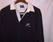 Vintage NEW ZEALAND sewn black Rugby shirt
