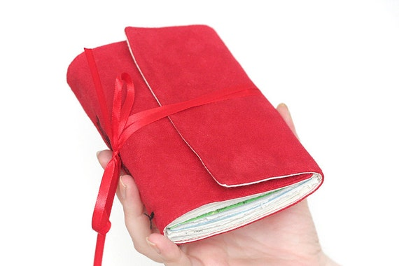 Fabric faux suede journal artist's travel map medium diary book sketch hand sewn blank pages vegan pocket size red poppy