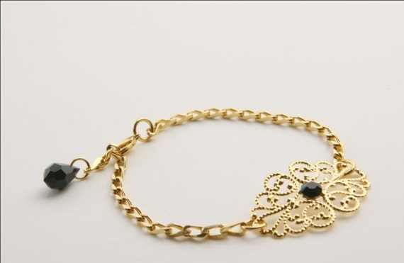 Gold Filigree Bracelet With Black Crystal - Bridesmaids Bracelet - Gold Lace Bracelet - Crystal Jewelry - Romantic Jewelry
