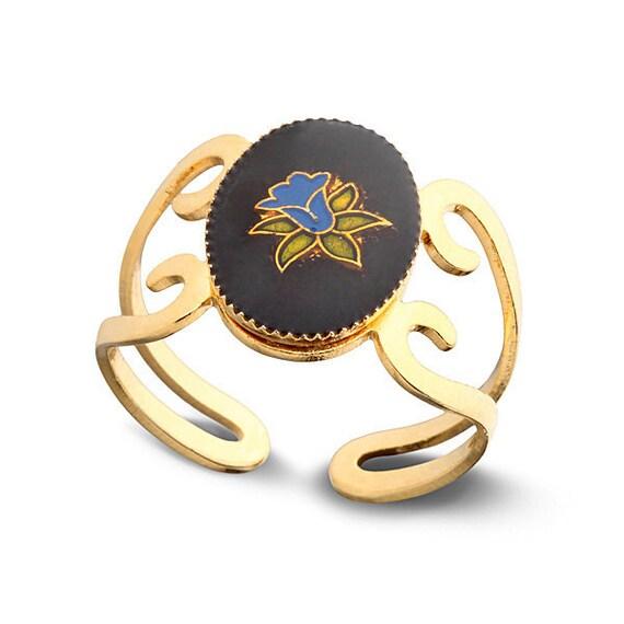 Adjustable Gold Ring - Flower ring - Enamel ring - Bridesmaids Gift - something Blue - retro ring - Black And Gold - romantic ring - for mom
