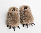Baby Bear Slippers  - Fuzzy Mocha Bear Paws Black Claws for Babies and Children
