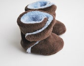 Wrap Around Minky Toddler Boots - Chocolate and Powder Blue