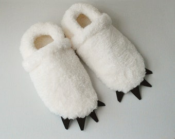 Yeti Slippers - Ivory with Black Claws - Adult sized Polar Bear Slippers