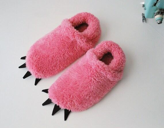 Pink Monster Slippers - Women's