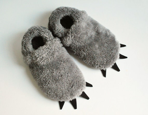 Furry Monster Slippers - Adult Sized - Grey with Black Claws