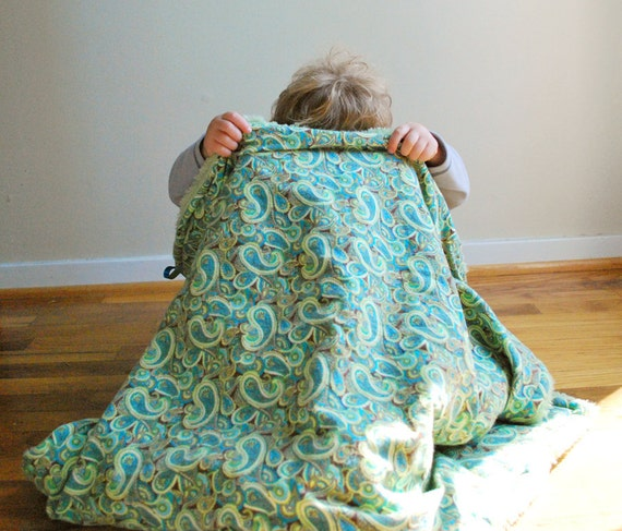 Baby Blanket -  Extra Fuzzy Minky and Cotton Flannel - Green and Turquoise - OOAK