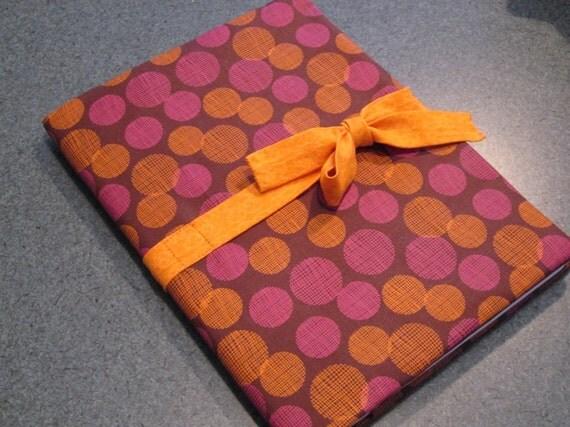 Fabric covered journal, pink, orange polka dots