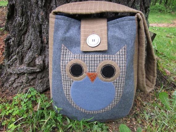 Owl totebag, recycled wool