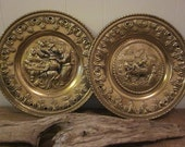 """A Set of 11.5""""  Brass Chargers Made in England Plaques /  Brass Plates / Wall Hangings / Pub Scenes Vintage"""