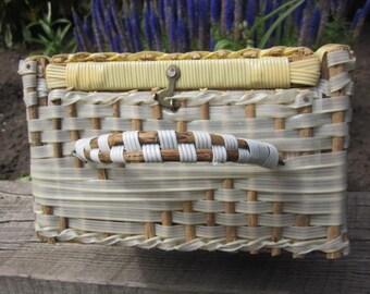 Vintage Handmade Rectangle Woven Basket with Handle and Hook Lock, Sewing / Picnic  Basket, Storage Basket, Gift Basket