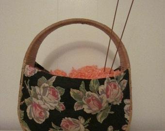 A Rare Wicker and Fabric Knitting Bag / Purse