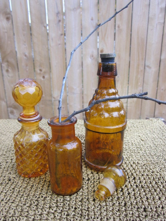 vintage bottles home decor bathroom kitchen brown