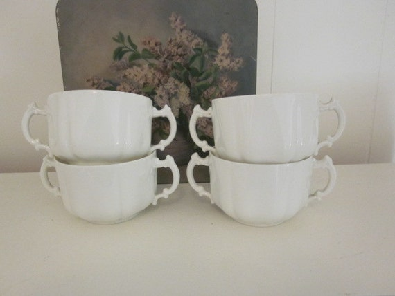 SuPeR SaLe 4 Late 1800s H & Co China White Double Handled Cups Elegant French Country Cottage Bowls