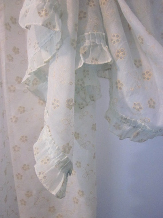 Vintage Sheer Pale Blue Curtains With Cream Colored Flowers