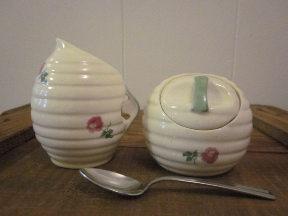 Round Vintage Czechoslovakian China Cream and Sugar bowl Set Sprinkled with Roses and a Sweet Stainless Spoon