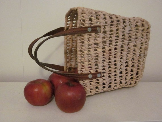 Biege Woven Basket Purse with Leather Handles