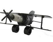 Metal Sculpture Spark Plug Bi Plane Re purposed