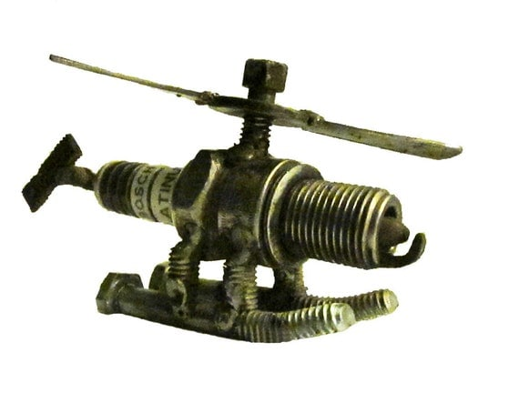 SALE Metal Sculpture Spark Plug Helicopter  Re Purposed