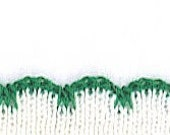 Ivory Rib Trim with Green Scalloped Edge