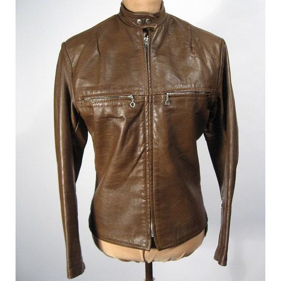 Harley Davidson Brown Leather Cafe Moto Jacket 1970 S