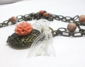 Locket Necklace, Jasper Beads, Dahlia Resin Flower, Lace Bow,  Romantic , Everyday Jewelry, Womens Jewelry