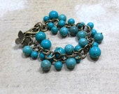 Turquoise Jewelry Beaded Dangle Bracelet with Butterfly Charm and Antique Gold Cable Chain