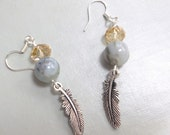 Dangle Earrings, Amazonite Beads, Swarovski Crystals, Sterling Silver Ear Wires, Everyday Jewelry, Blue Green, Leaf Charms