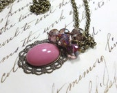 Necklace Pendant, Pink Jewelry Vintage German Glass Cabochon Pendant Glass Dangles Vintage Style Women's Jewelry Everyday Jewelry