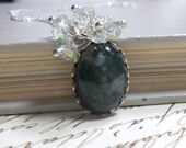Sterling Silver Necklace with Moss Agate Cabochon, Crystal Dangles, Womens Jewelry, Everyday Jewelry