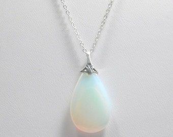 Teardrop Opalite Pendant with Sterling Silver Chain Necklace and Sterling Bail, Everyday jewelry