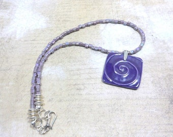 Ceramic Purple Necklace Pendant Necklace with Glass Cube Beads, Everyday Jewelry