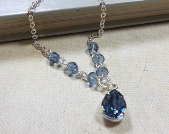 Swarovski Crystal Pendant Necklace, Denim Blue, Silver Chain, Pear Shape