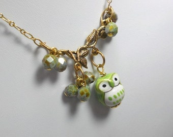 Pendant Necklace, Porcelain Owl, Czech Glass Beads, Gold Plated Chain, Everyday Jewelry