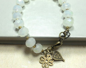 Beaded Bracelet, Opalite Faceted Glass Beads, Brass Beads, Brass Charms, Everyday Jewelry