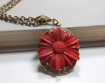Necklace and Flower Pendant, Red Daisy Resin Flower Cabochon, Everyday Jewelry Red Jewelry