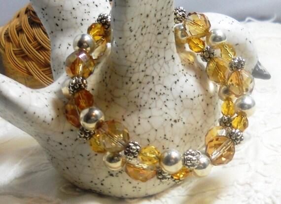 Bracelet Czech Glass Golden Colored, Memory Wire